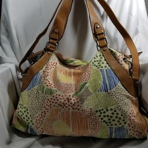 Fossil Leather Canvas Pattern Shoulder Bag  Tote